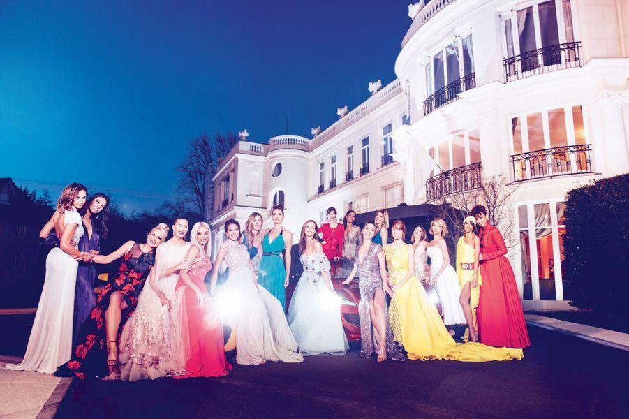 Jamais autant de Miss France n'auront été réunies sous les cieux parisiens. Devant le Pré Catelan, inspiré des folies du XVIIIe siècle, le 20 mars.