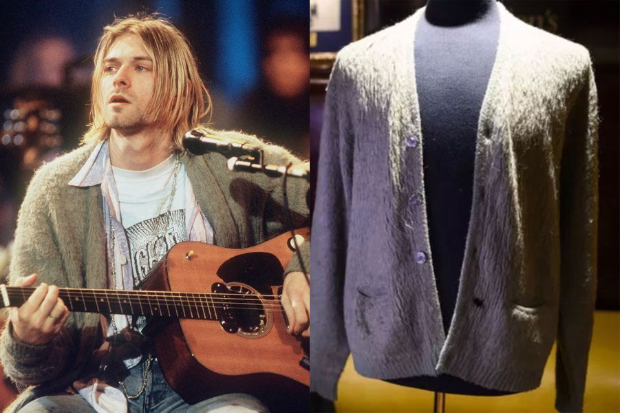 Le gilet mythique de Kurt Cobain, qui n'a jamais été lavé et qui a un trou de cigarette, a été vendu pour334 000 dollars en octobre 2019 à New York.