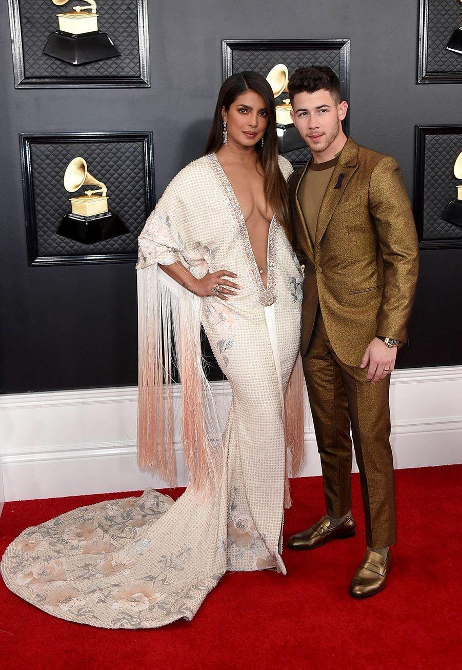 Priyanka Chopra et Nick Jonasà la soirée des Grammy Awards à Los Angeles le 26 janvier 2020.