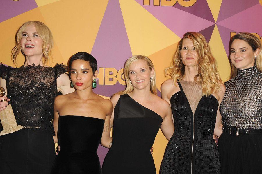 Nicole Kidman, Zoë Kravitz, Reese Witherspoon, Laura Dern et Shailene Woodley : les stars de «Big Little Lies». Le tournage de la série a permis à ces cinq grande actrices de consolider une amitié très solide. Elles ne loupent d'ailleurs jamais une occasion de passer du temps ensemble.