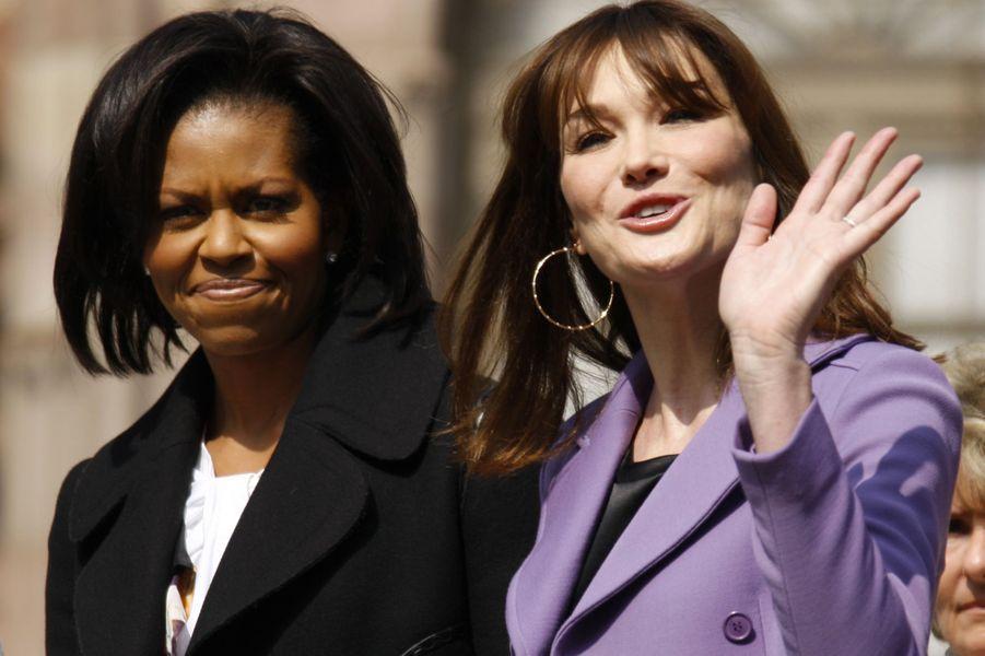 Carla Bruni et Michelle Obama à Strasbourg, en avril 2009.
