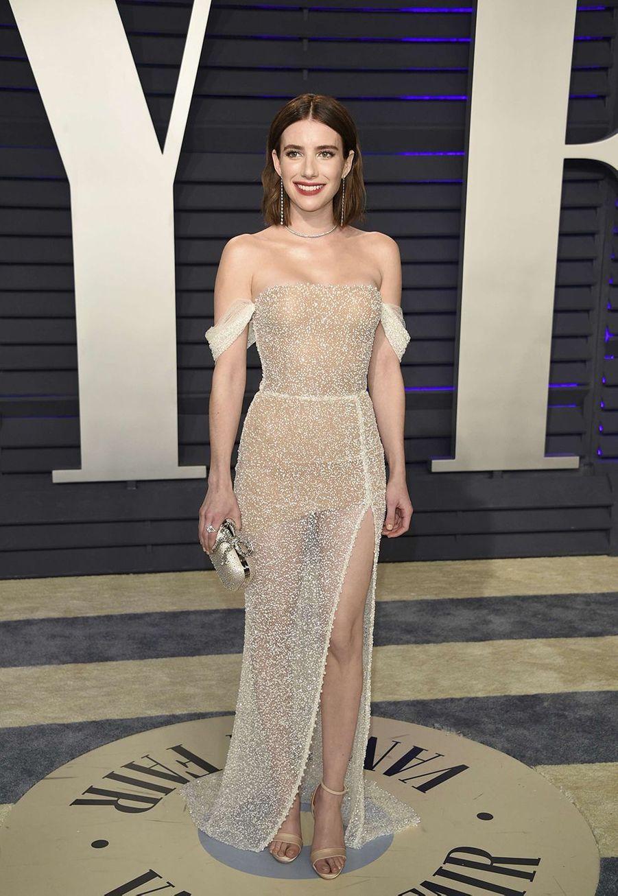 Emma Roberts en robe Yanina Couture aux Oscars à Hollywood le 24 février 2019.
