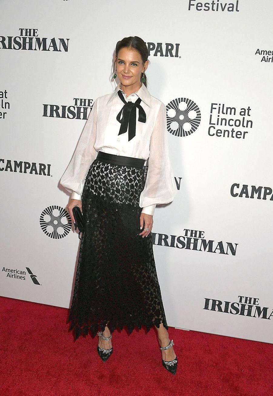 """Katie Holmes en Marc Jacobs pour la première du film """"The Irishman"""" à New York le 27 septembre 2019."""