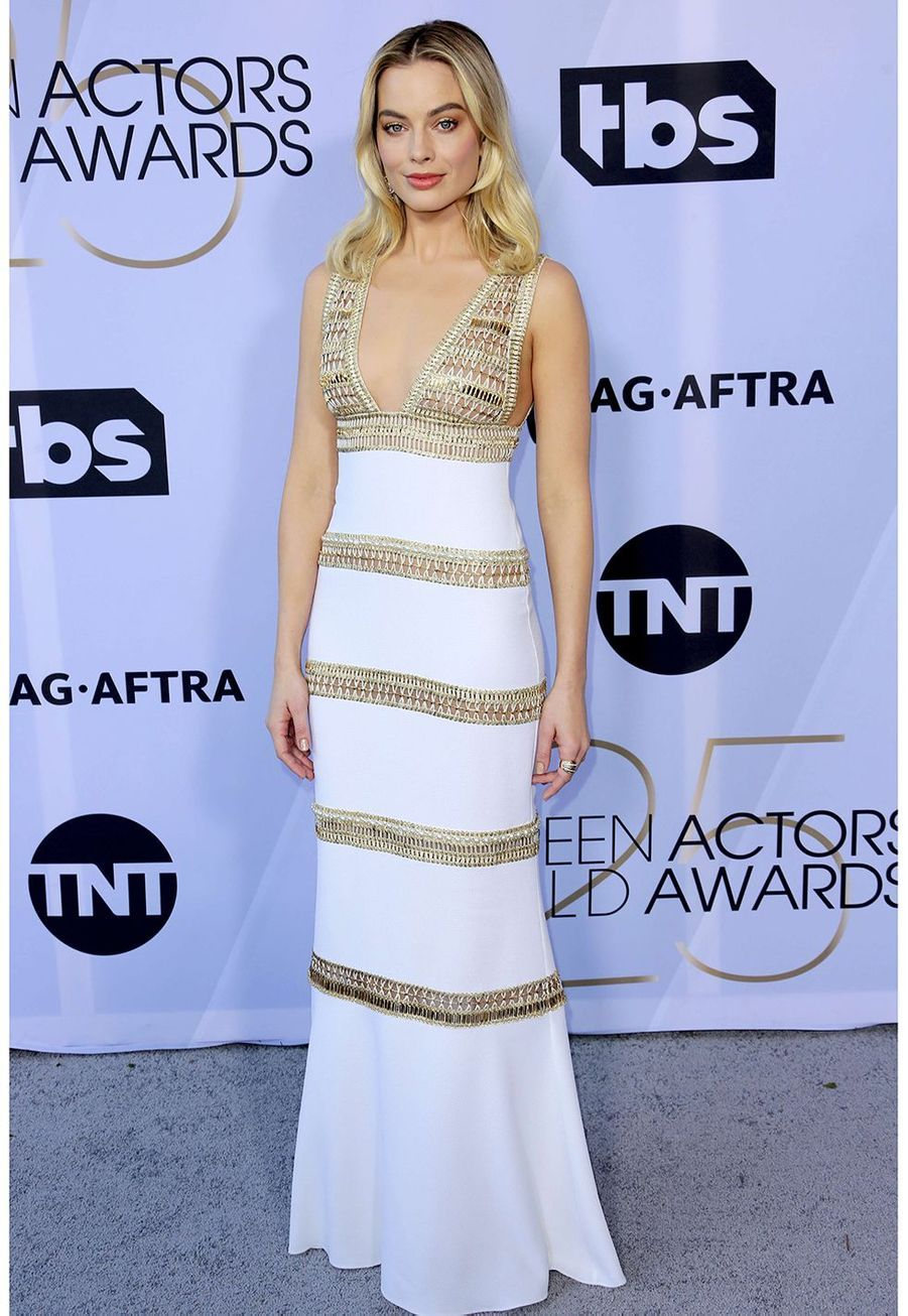 Margot Robbie en robe Chanel auxScreen Actors Guild Awards à Los Angeles le 27 janvier 2019.