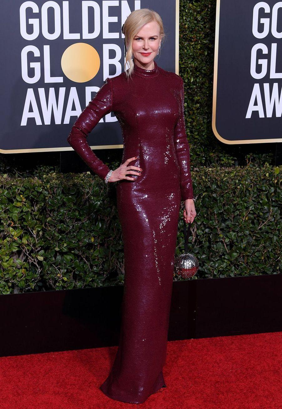 Nicole Kidman en robe Michael Kors aux Golden Globes à Los Angles le 6 janvier 2019.