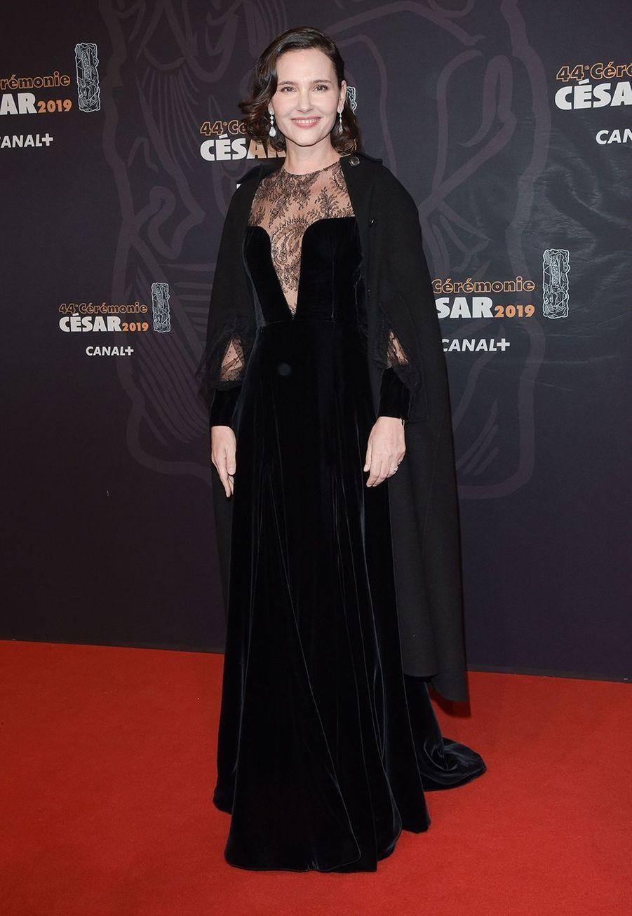 Virginie Ledoyen en robe Dior aux César à Paris le 22 février 2019.