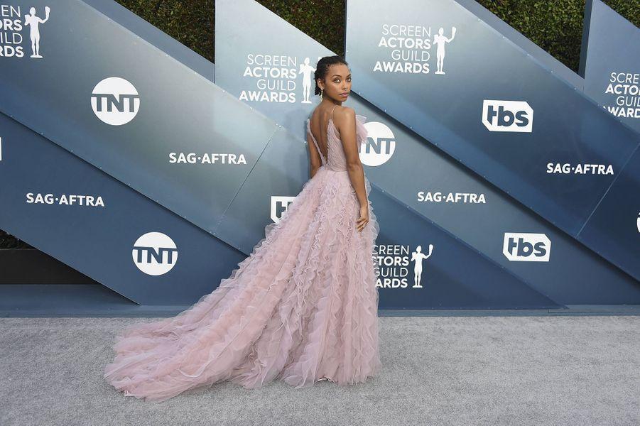 Logan Browning vêture d'une robe Jason Wulors desScreen Actors Guild Awards à Los Angeles, le 19 janvier 2020.
