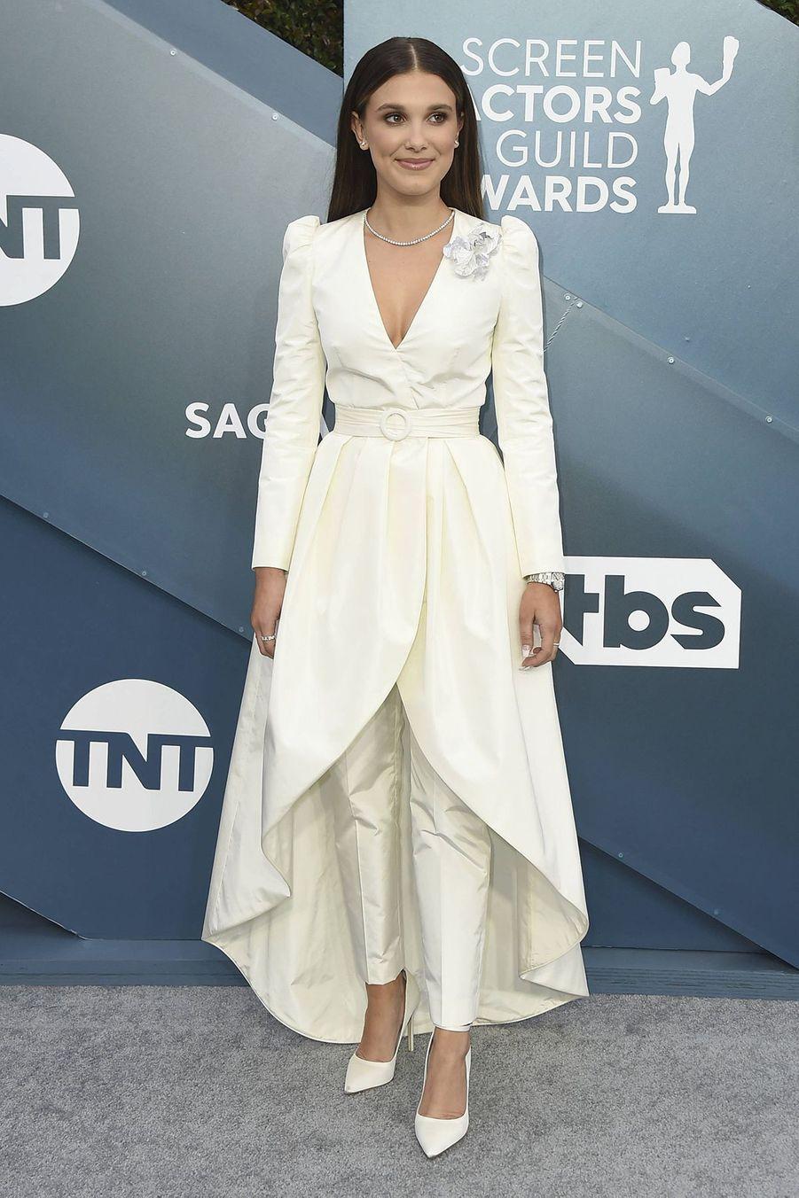 Millie Bobby Brown en Louis Vuittonlors desScreen Actors Guild Awards à Los Angeles, le 19 janvier 2020.
