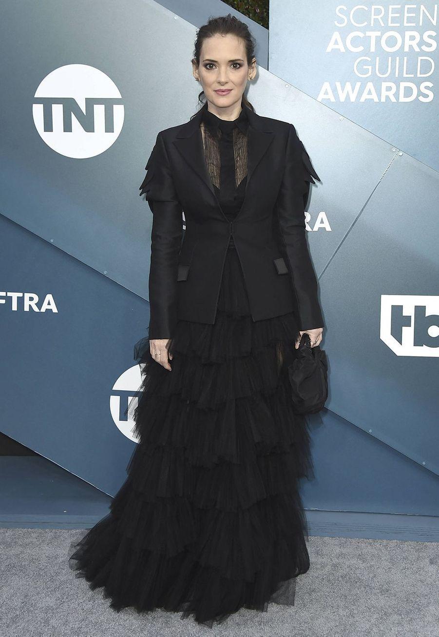 Winona Ryder en Christian Diorlors desScreen Actors Guild Awards à Los Angeles, le 19 janvier 2020.
