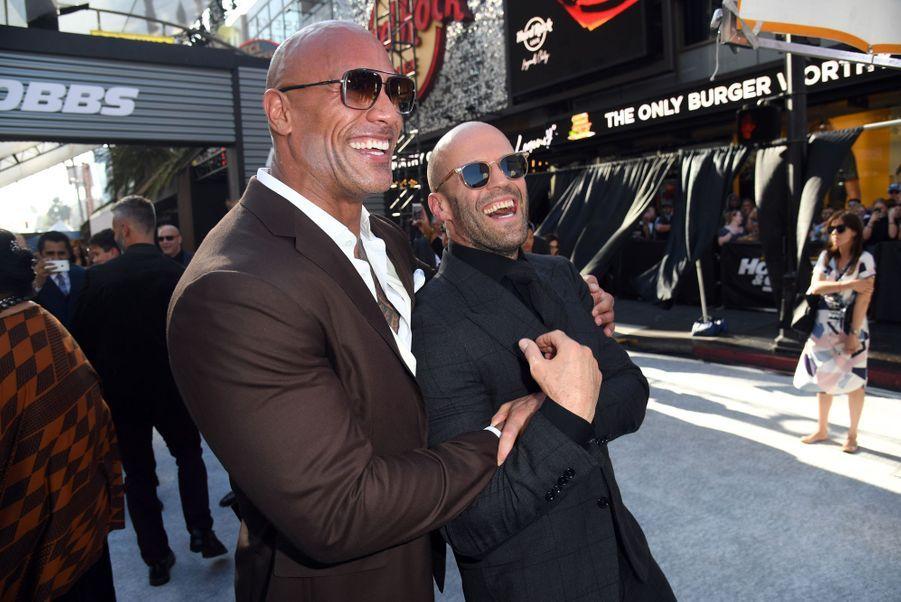Dwayne Johnson et Jason Stathamà la première du film «Fast & Furious : Hobbs & Shaw» à Los Angeles le 13 juillet 2019