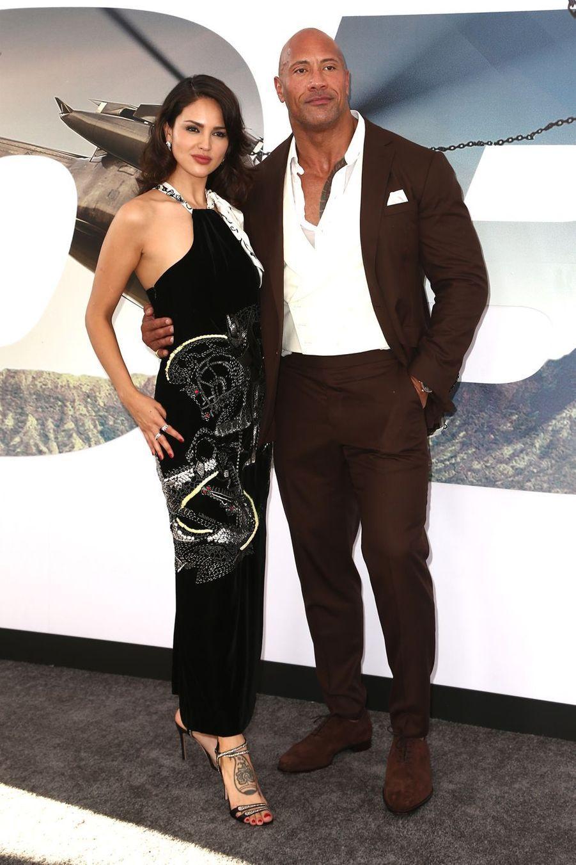 Eiza Gonzalez et Dwayne Johnsonà la première du film «Fast & Furious : Hobbs & Shaw» à Los Angeles le 13 juillet 2019