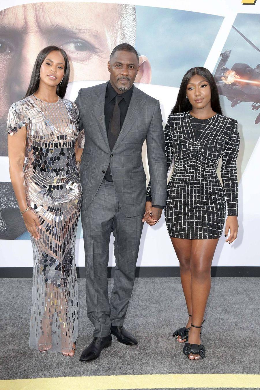 Sabrina Dhowre, Idris Elba et Isan Elbaà la première du film «Fast & Furious : Hobbs & Shaw» à Los Angeles le 13 juillet 2019