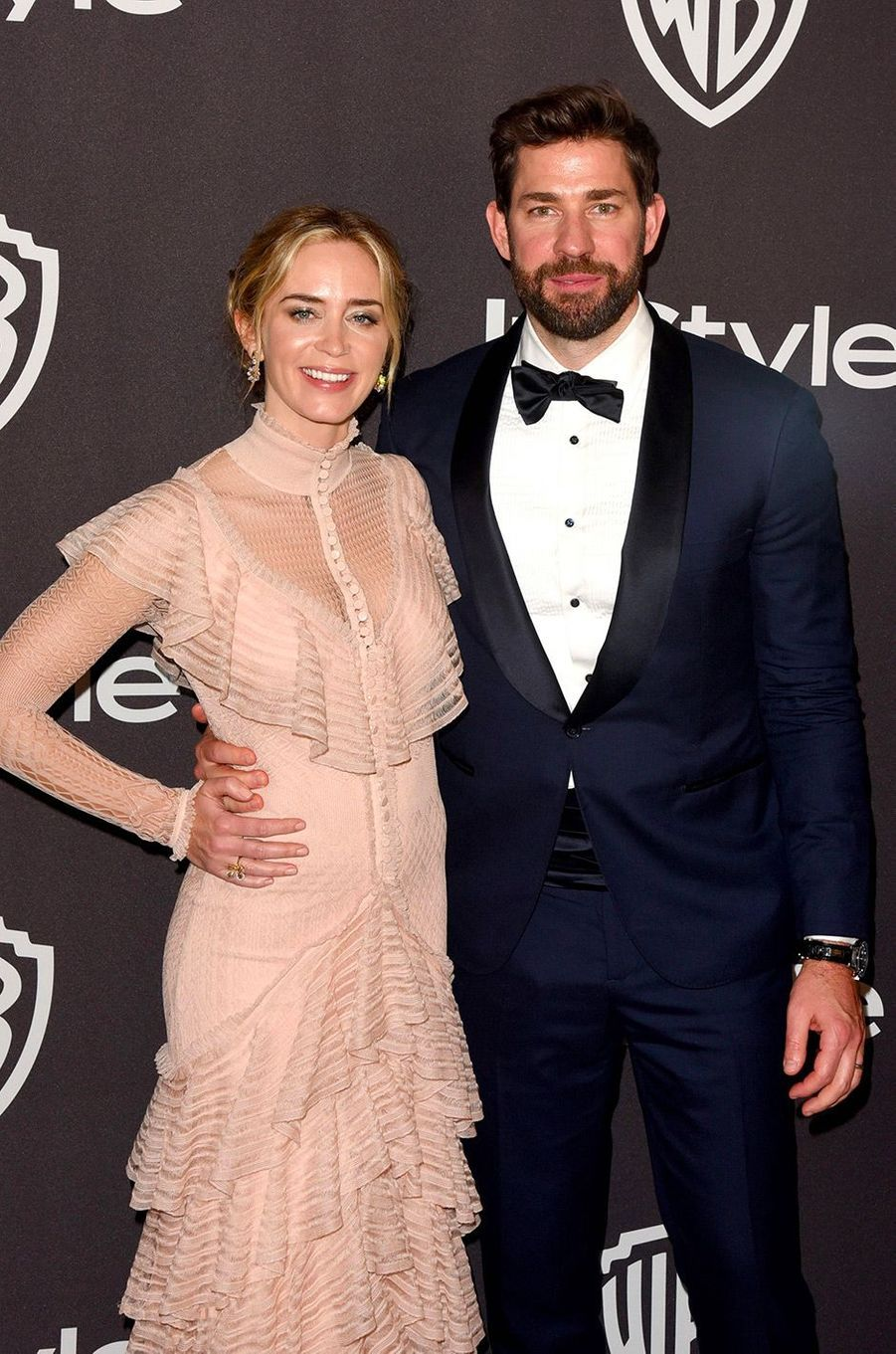 Emily Blunt et John Krasinski à l'after-party In Style & Warner Bros, dimanche 6 janvier