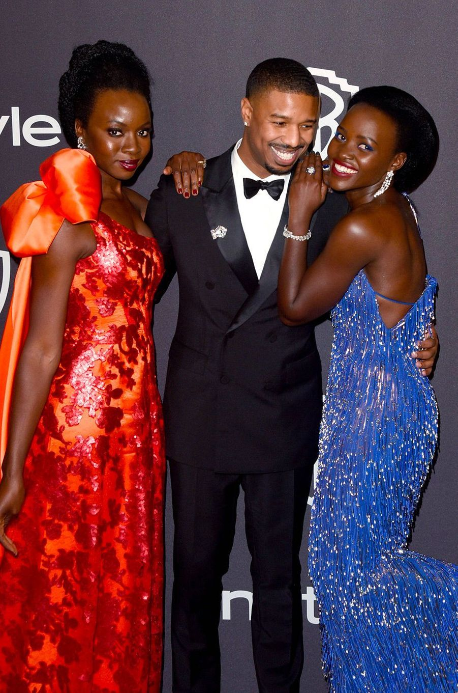 Danai Gurira, Michael B. Jordan et Lupita Nyong'o à l'after-party In Style & Warner Bros, dimanche 6 janvier