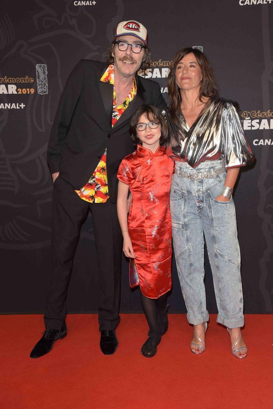 Philippe Rebbot, Romane Bohringer leur fille Roseà la 44e cérémonie des César à la Salle Pleyel à Paris le 22 février 2019