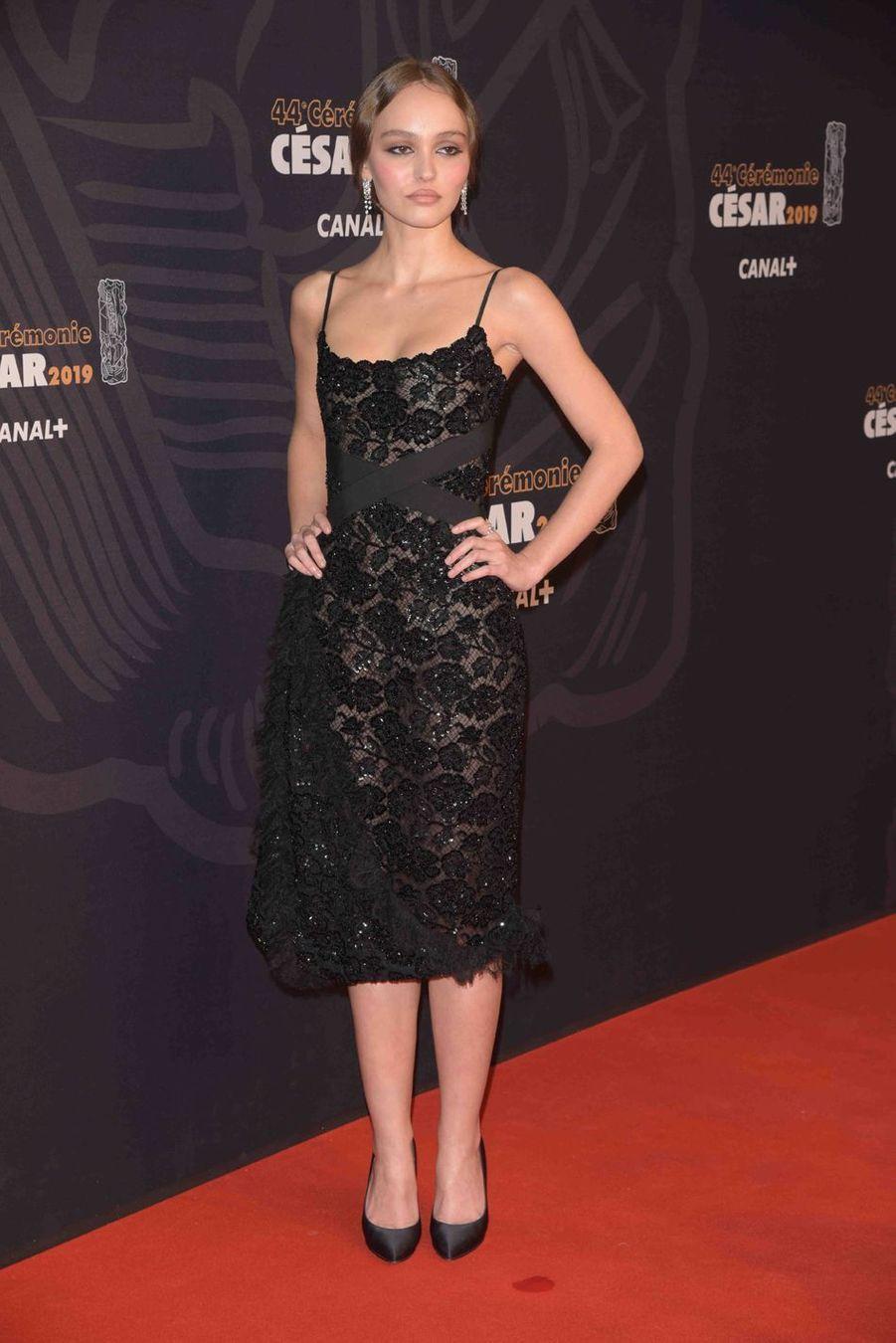 Lily-Rose Deppà la 44e cérémonie des César à la Salle Pleyel à Paris le 22 février 2019