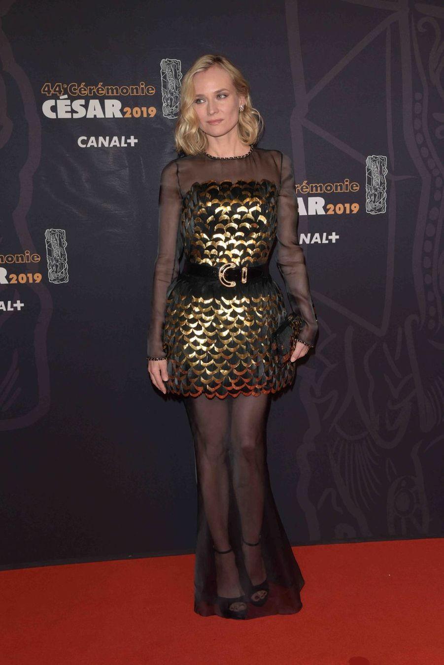 Diane Krugerà la 44e cérémonie des César à la Salle Pleyel à Paris le 22 février 2019