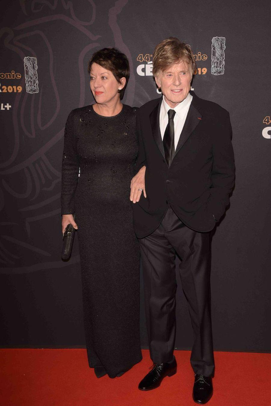 Robert Redford et son épouse Sibylleà la 44e cérémonie des César à la Salle Pleyel à Paris le 22 février 2019