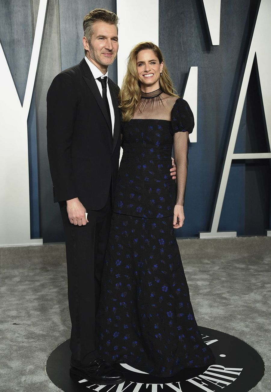 David Benioff et Amanda Peet à l'after-party des Oscars organisée par «Vanity Fair» à Los Angeles le 9 février 2020