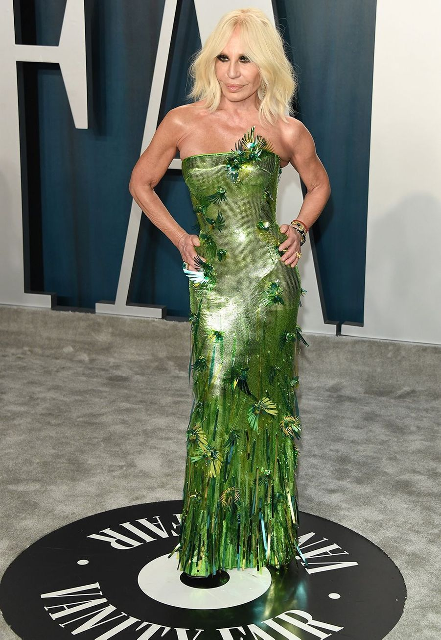 Donatella Versace à l'after-party des Oscars organisée par «Vanity Fair» à Los Angeles le 9 février 2020