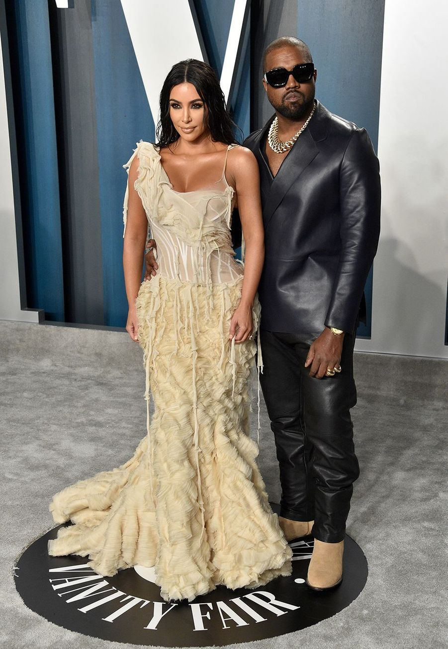 Kim Kardashian et Kanye West à l'after-party des Oscars organisée par «Vanity Fair» à Los Angeles le 9 février 2020