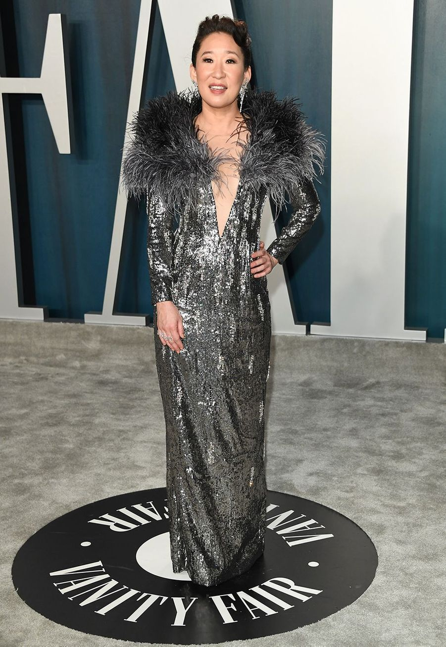 Sandra Oh (bijoux Messika) à l'after-party des Oscars organisée par «Vanity Fair» à Los Angeles le 9 février 2020