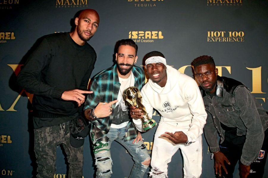 Nzonzi, Rami (et sa fameuse moustache porte-bonheur), Pogba et Umtiti au Hollywood Palladium à Los Angeles, le 21 juillet.