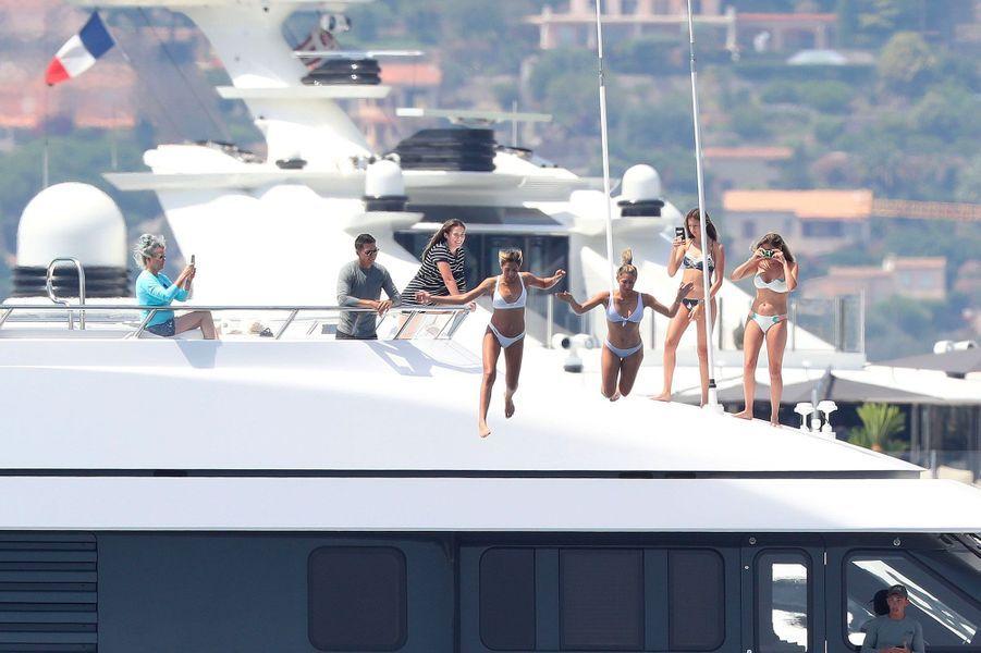Sylvester Stallone et sa famille à Saint-Tropez le 14 juillet 2018