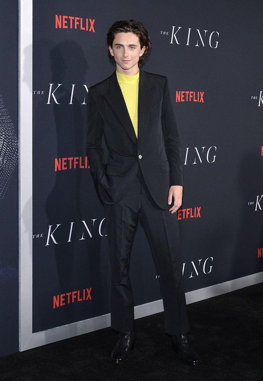 Timothée Chalamet à la Première de «The King» au SVA Theater, New York, mardi 1eroctobre.