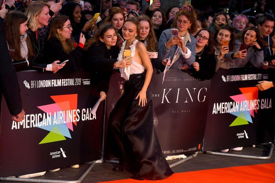 Lily-Rose Deppà l'avant-première de «The King» lors du Festivaldu film de Londres (BFI) le 3 octobre 2019