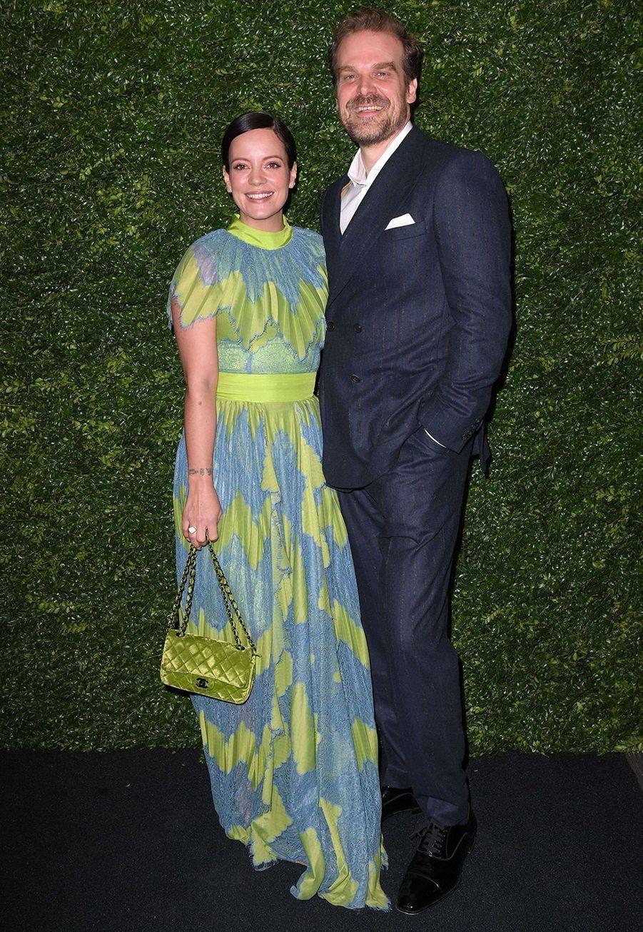 Lily Allen et son compagnon David Harbourlors de la soirée Chanel organisée en marge des BAFTA à Londres le 1er février 2020