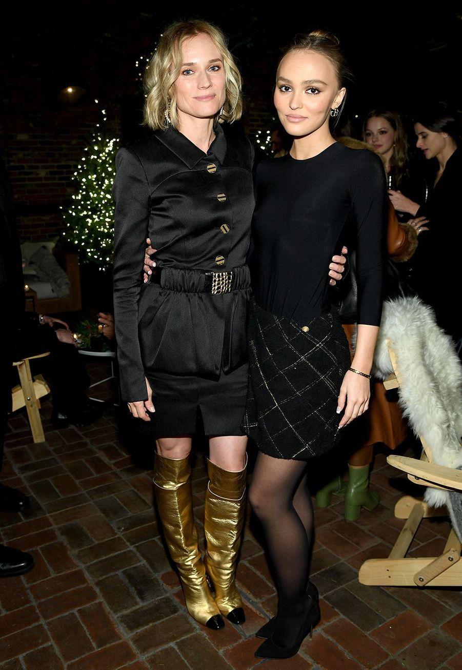 Diane Kruger et Lily-Rose Depplors de la soirée organisée par Chanel à New York le 10 décembre 2019.