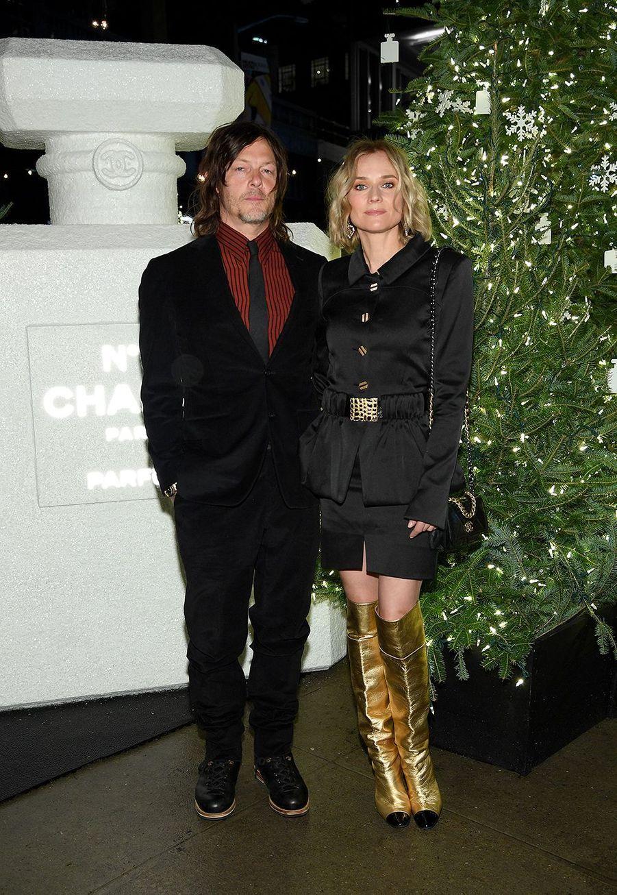 Diane Kruger et Norman Reeduslors de la soirée organisée par Chanel à New York le 10 décembre 2019.