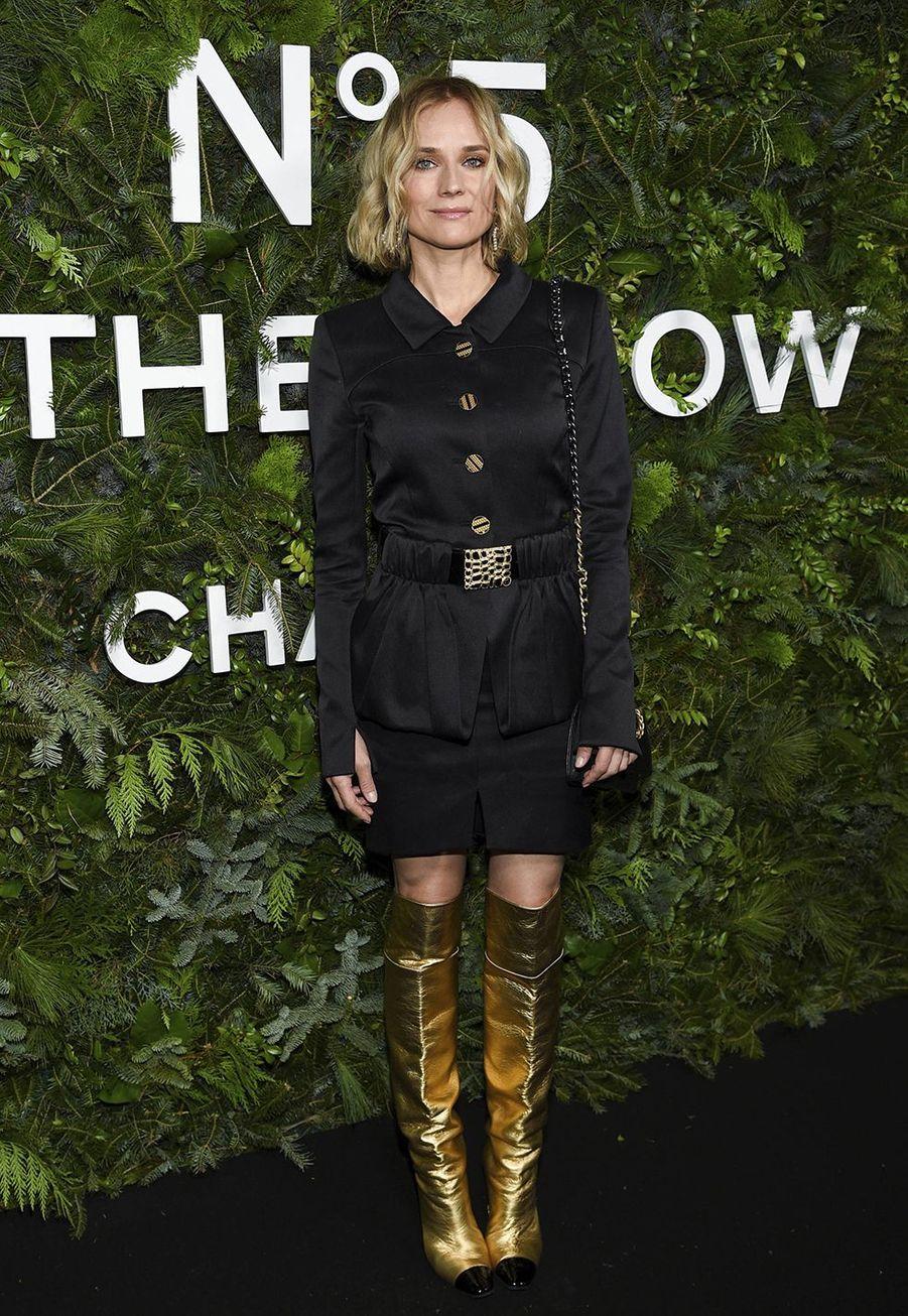 Diane Krugerlors de la soirée organisée par Chanel à New York le 10 décembre 2019.