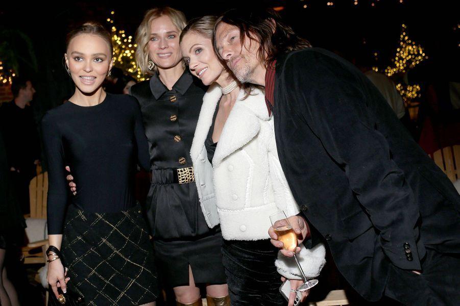 Lily-Rose Depp, Diane Kruger et son compagnon Norman Reeduslors de la soirée organisée par Chanel à New York le 10 décembre 2019.