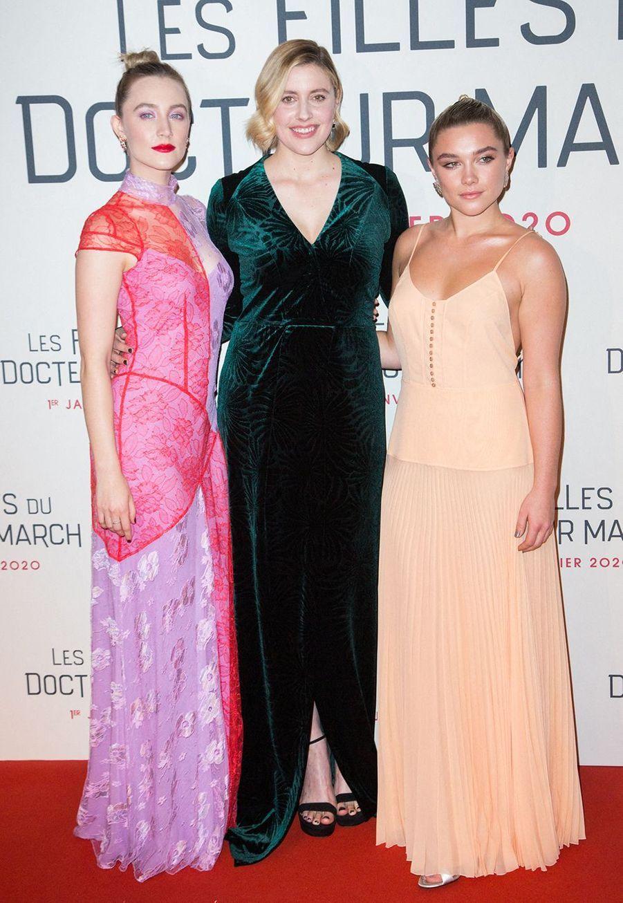"""Saoirse Ronan, Greta Gerwig, et Florence Pughlors dela première du film """"Les filles du Docteur March"""" à Paris, le 12 décembre 2019."""