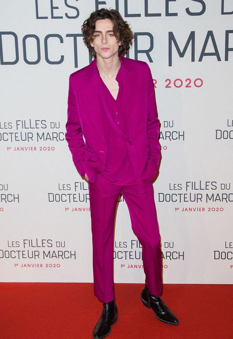 """Timothée Chalametlors dela première du film """"Les filles du Docteur March"""" à Paris, le 12 décembre 2019."""