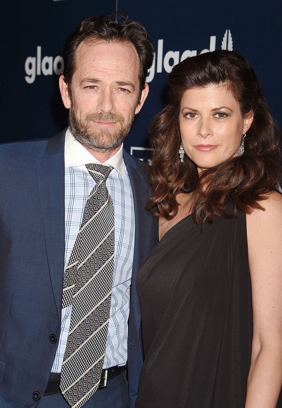 Luke Perry et sa fiancée Wendy Madison Bauer aux GLAAD Media Awards 2017