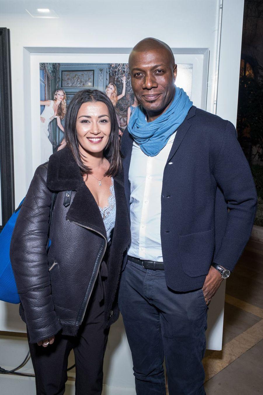 """Karima Charni et Harry Roselmackau vernissage de l'exposition """"Femmes je vous aime"""" à l'Hôtel Plaza Athénée à Paris, le 25 février 2019."""
