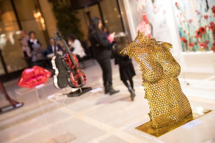 """Vernissage de l'exposition """"Femmes je vous aime"""" à l'Hôtel Plaza Athénée à Paris, le 25 février 2019."""
