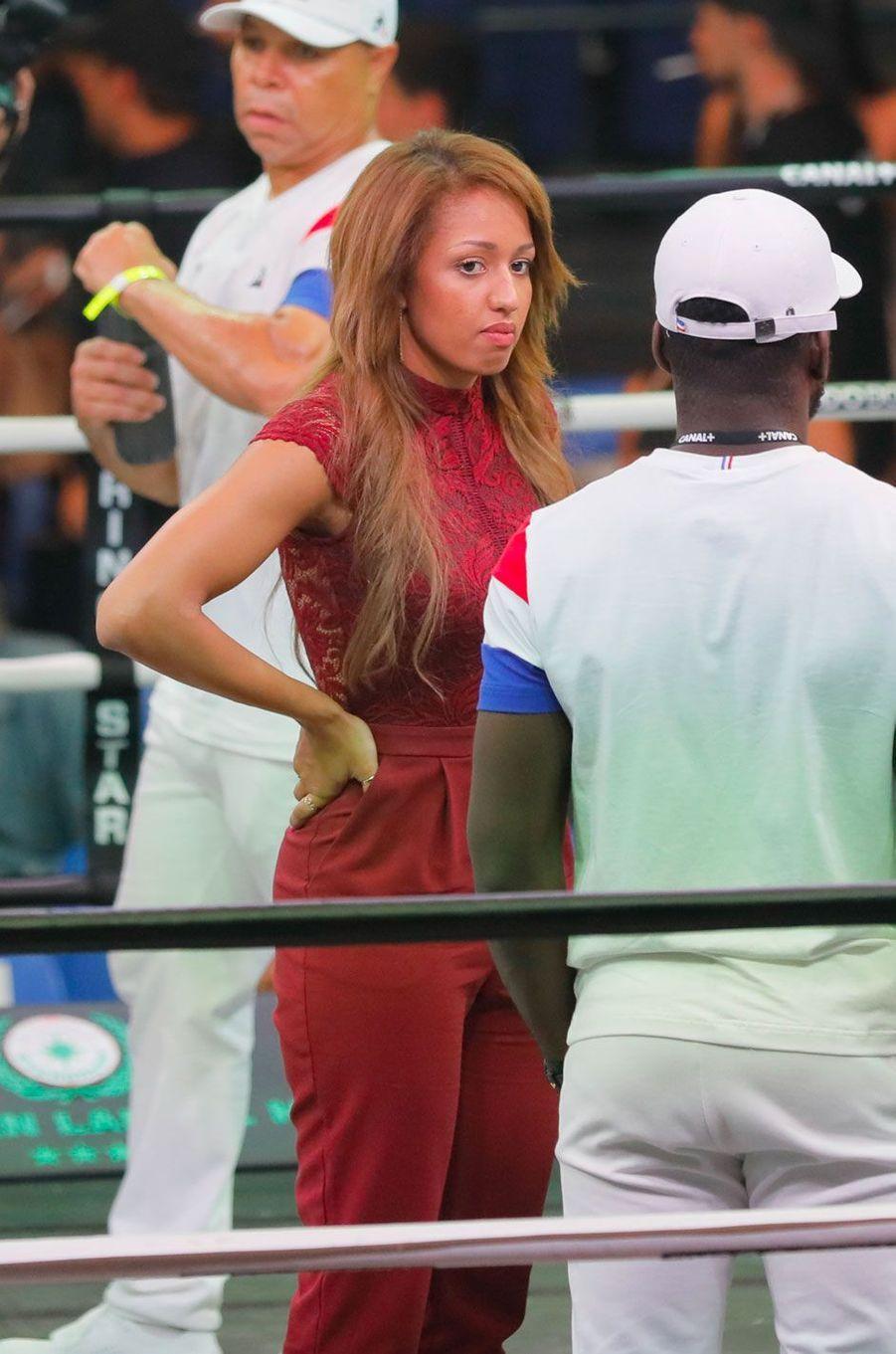 Estelle Mossely au match de boxe de Tony Yoka au palais des sports de Paris, le 23 juin 2018