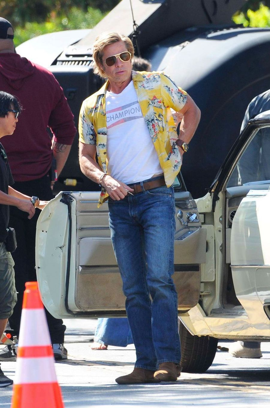 "Brad Pitt sur le tournage de ""Once Upon a Time in Hollywood"""