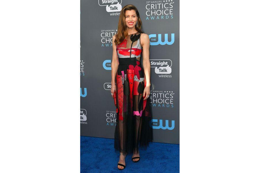 Jessica Biel dans un robe Oscar de la Renta