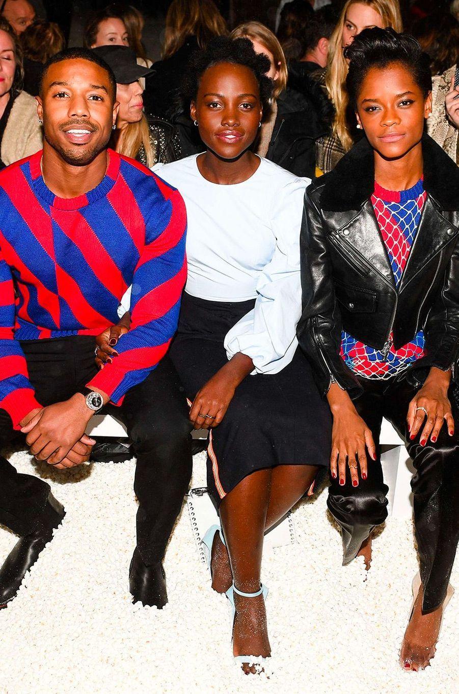 Michael B. Jordan, Lupita Nyong'o et Letitia Wright au défilé Calvin Klein