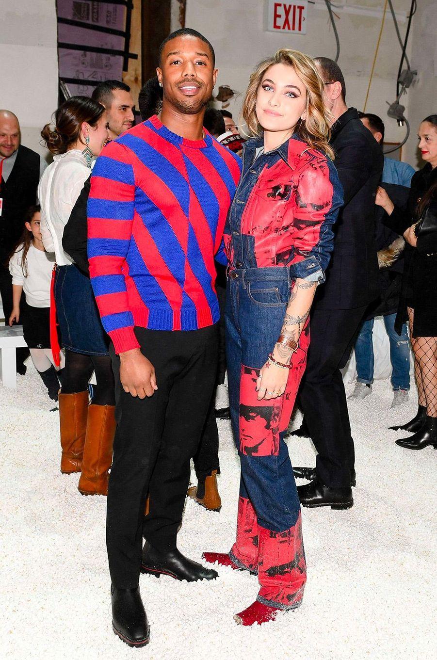 Paris Jackson et Michael B. Jordan au défilé Calvin Klein