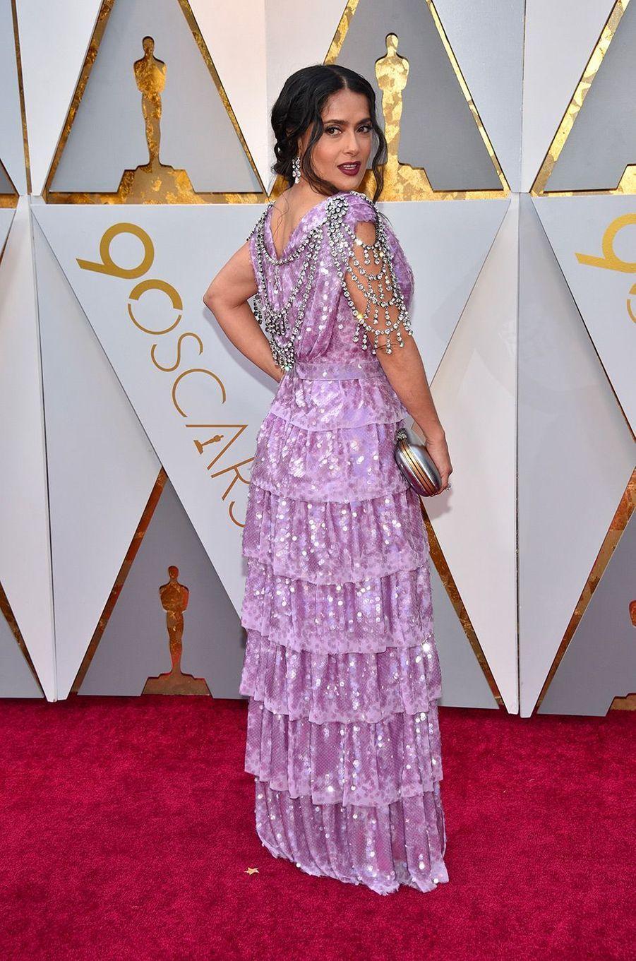 Salma Hayek dans une robe Gucci