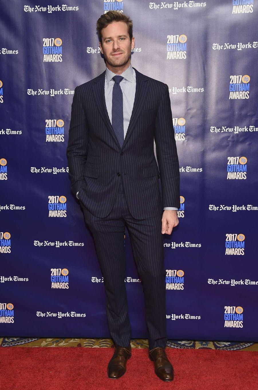 Armie Hammerà la soirée des Gotham Awards, à New York le 27 novembre 2017.