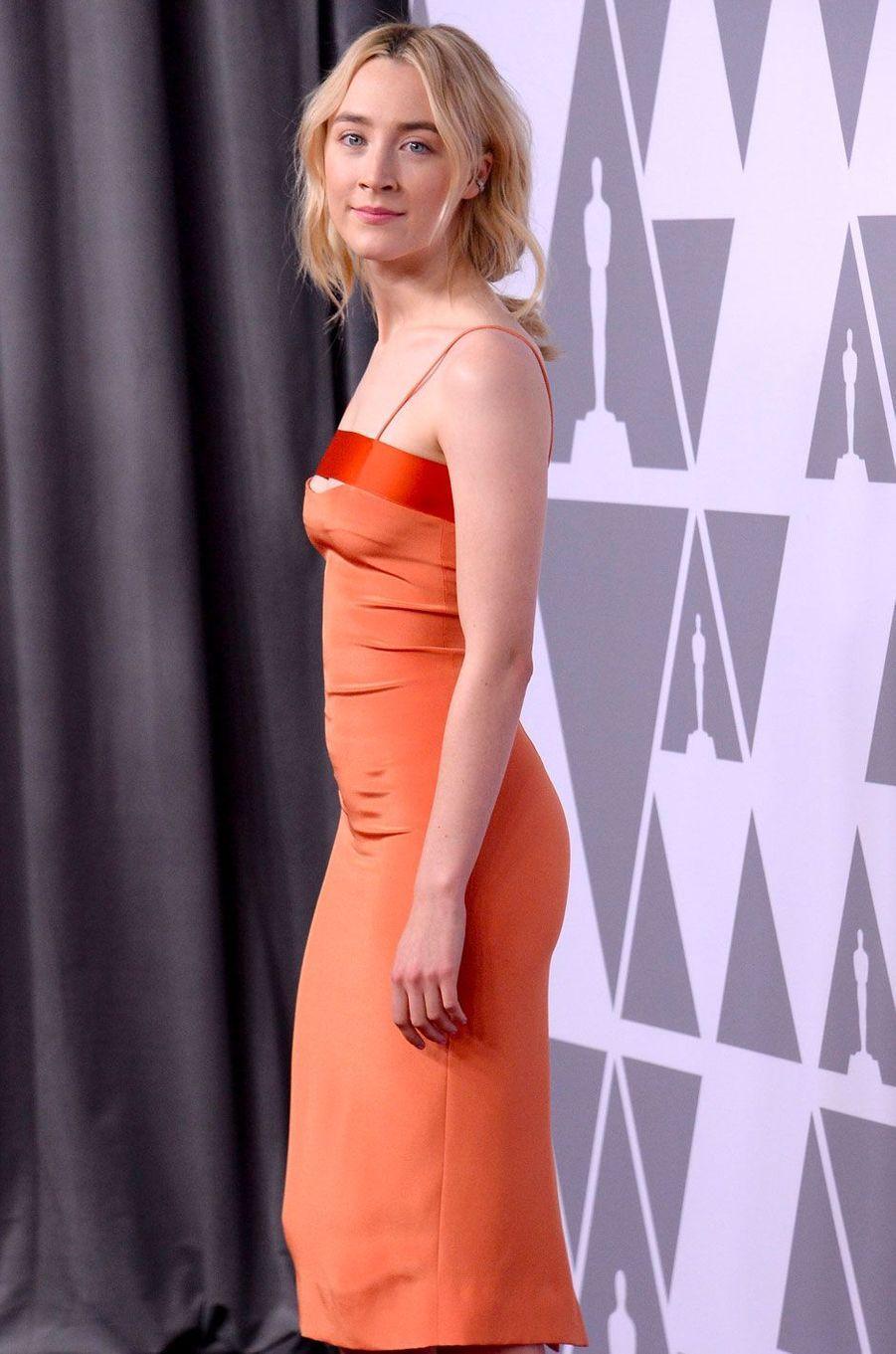 Saoirse Ronan au déjeuner des nommés aux Oscars, le 5 février 2018