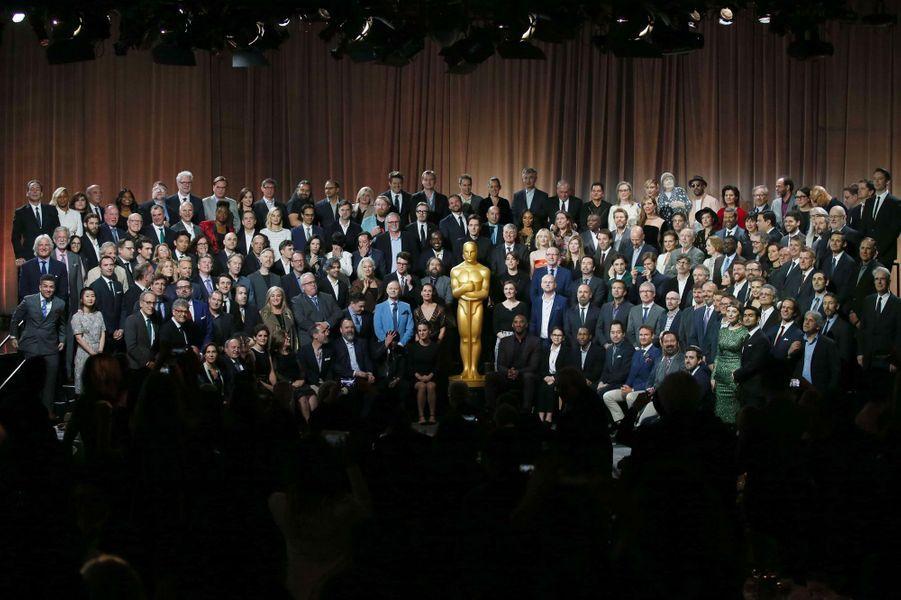 Photo de classe du déjeuner des nommés aux Oscars, le 5 février 2018