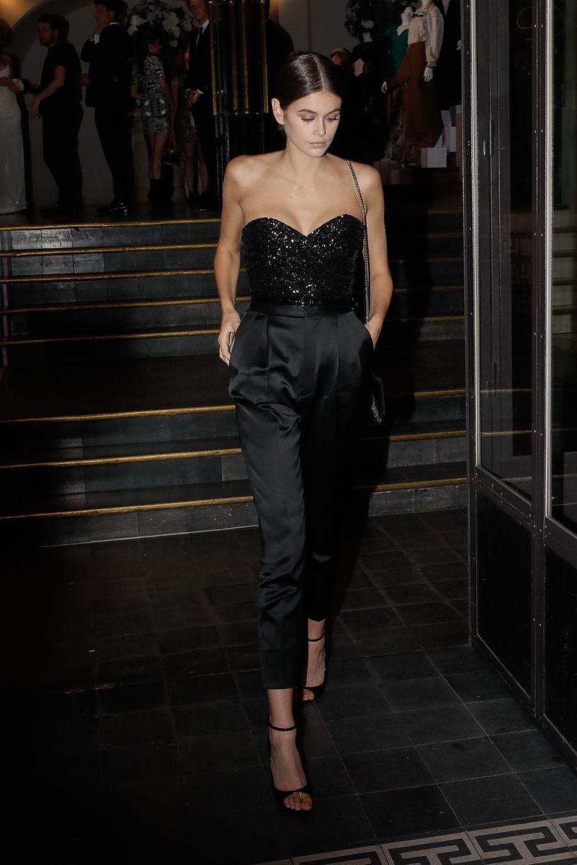 Kaia Gerber à la sortie du gala le 2 juillet 2019.